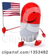 Clipart Of A 3d Happy Red And White Pill Character Holding An American Flag And Walking On A White Background Royalty Free Vector Illustration