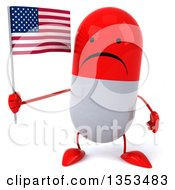 Clipart Of A 3d Unhappy Red And White Pill Character Holding An American Flag On A White Background Royalty Free Vector Illustration
