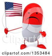 Clipart Of A 3d Unhappy Red And White Pill Character Holding And Pointing To An American Flag On A White Background Royalty Free Vector Illustration