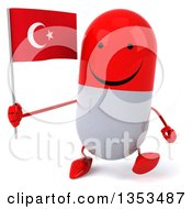 Clipart Of A 3d Happy Red And White Pill Character Holding A Turkish Flag And Walking On A White Background Royalty Free Vector Illustration