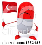 Clipart Of A 3d Unhappy Red And White Pill Character Holding A Turkish Flag On A White Background Royalty Free Vector Illustration