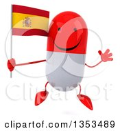 Clipart Of A 3d Happy Red And White Pill Character Holding A Spanish Flag And Jumping On A White Background Royalty Free Vector Illustration