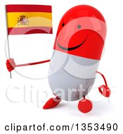Clipart Of A 3d Happy Red And White Pill Character Holding A Spanish Flag And Walking On A White Background Royalty Free Vector Illustration