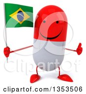 Clipart Of A 3d Happy Red And White Pill Character Holding A Brazilian Flag And Giving A Thumb Up On A White Background Royalty Free Vector Illustration