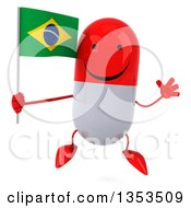 Clipart Of A 3d Happy Red And White Pill Character Holding A Brazilian Flag And Jumping On A White Background Royalty Free Vector Illustration