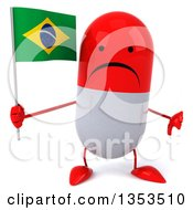Clipart Of A 3d Unhappy Red And White Pill Character Holding A Brazilian Flag And Giving A Thumb Down On A White Background Royalty Free Vector Illustration