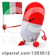 Clipart Of A 3d Happy Red And White Pill Character Holding An Italian Flag And Walking On A White Background Royalty Free Vector Illustration