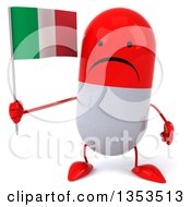 Clipart Of A 3d Unhappy Red And White Pill Character Holding An Italian Flag On A White Background Royalty Free Vector Illustration