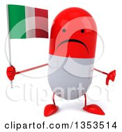 Clipart Of A 3d Unhappy Red And White Pill Character Holding An Italian Flag And Giving A Thumb Down On A White Background Royalty Free Vector Illustration