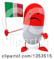Clipart Of A 3d Unhappy Red And White Pill Character Holding And Pointing To An Italian Flag On A White Background Royalty Free Vector Illustration