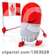 Clipart Of A 3d Happy Red And White Pill Character Holding A Canadian Flag And Walking On A White Background Royalty Free Vector Illustration