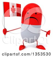 Clipart Of A 3d Unhappy Red And White Pill Character Holding A Canadian Flag And Giving A Thumb Down On A White Background Royalty Free Vector Illustration