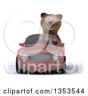 Clipart Of A 3d Brown Bear Driving A Pink Convertible Car On A White Background Royalty Free Vector Illustration