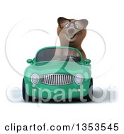 Clipart Of A 3d Bespectacled Brown Bear Driving A Green Convertible Car On A White Background Royalty Free Vector Illustration