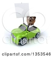 Clipart Of A 3d Bespectacled Brown Business Bear Holding A Blank Sign And Driving A Green Convertible Car On A White Background Royalty Free Vector Illustration