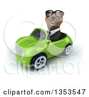 Clipart Of A 3d Bespectacled Brown Business Bear Driving A Green Convertible Car On A White Background Royalty Free Vector Illustration