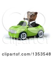 Clipart Of A 3d Bespectacled Brown Business Bear Giving A Thumb Down And Driving A Green Convertible Car On A White Background Royalty Free Vector Illustration