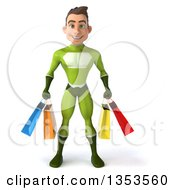 Clipart Of A 3d Young White Male Super Hero In A Green Suit Holding Shopping Bags On A White Background Royalty Free Illustration by Julos