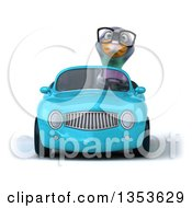 Clipart Of A 3d Bespectacled Pigeon Driving A Yellow Convertible Car On A White Background Royalty Free Vector Illustration