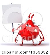 Clipart Of A 3d Red Germ Virus Holding A Blank Sign On A White Background Royalty Free Vector Illustration