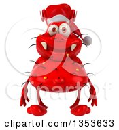 Clipart Of A 3d Red Christmas Germ Virus Wearing A Santa Hat On A White Background Royalty Free Vector Illustration by Julos