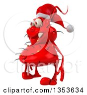 Clipart Of A 3d Red Christmas Germ Virus Wearing A Santa Hat On A White Background Royalty Free Vector Illustration