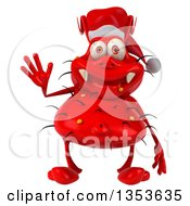 Clipart Of A 3d Red Christmas Germ Virus Wearing A Santa Hat And Waving On A White Background Royalty Free Vector Illustration