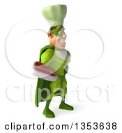 Clipart Of A 3d Green Caucasian Male Super Chef Holding A Beef Steak On A White Background Royalty Free Illustration
