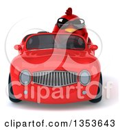 Clipart Of A 3d Chubby Red Bird Wearing Sunglasses And Driving A Convertible Car On A White Background Royalty Free Vector Illustration