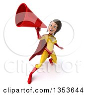Clipart Of A 3d Brunette White Female Super Hero In A Yellow And Red Suit Using A Megaphone On A White Background Royalty Free Illustration