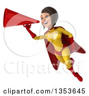 Clipart Of A 3d Brunette White Female Super Hero In A Yellow And Red Suit Flying And Using A Megaphone On A White Background Royalty Free Illustration