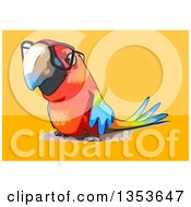 Clipart Of A Cartoon Bespectacled Scarlet Macaw Parrot On A Yellow And Orange Background Royalty Free Vector Illustration