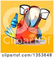 Clipart Of A Cartoon Bespectacled Scarlet Macaw Parrot Giving A Thumb Up On A Yellow And Orange Background Royalty Free Vector Illustration