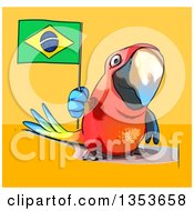 Clipart Of A Cartoon Scarlet Macaw Parrot Holding A Brazilian Flag On A Yellow And Orange Background Royalty Free Vector Illustration