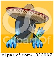 Clipart Of A Cartoon Blue And Yellow Mexican Macaw Parrot Over A Sign On A Yellow And Orange Background Royalty Free Vector Illustration