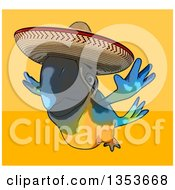 Clipart Of A Cartoon Blue And Yellow Mexican Macaw Parrot Flying On A Yellow And Orange Background Royalty Free Vector Illustration