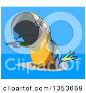 Clipart Of A Cartoon Blue And Yellow Macaw Parrot Pointing On A Blue Background Royalty Free Vector Illustration