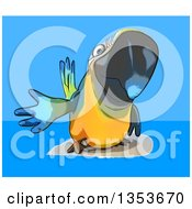 Clipart Of A Cartoon Blue And Yellow Macaw Parrot Presenting On A Blue Background Royalty Free Vector Illustration
