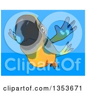 Clipart Of A Cartoon Blue And Yellow Macaw Parrot Flying On A Blue Background Royalty Free Vector Illustration
