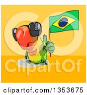 Clipart Of A Cartoon Green Macaw Parrot Wearing Sunglasses And Holding A Brazilian Flag On A Yellow And Orange Background Royalty Free Vector Illustration