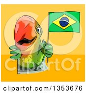 Clipart Of A Cartoon Green Macaw Parrot Holding A Brazilian Flag Around A Sign On A Yellow And Orange Background Royalty Free Vector Illustration