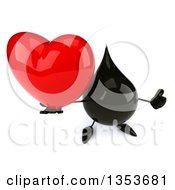 3d Oil Drop Character Holding Up A Heart And Thumb On A White Background