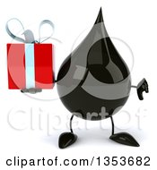 3d Oil Drop Character Holding A Gift And Giving A Thumb Down On A White Background