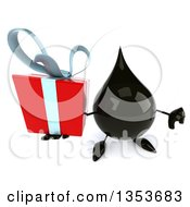 3d Oil Drop Character Holding Up A Gift And A Thumb Down On A White Background