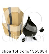 3d Oil Drop Character Holding Up Boxes And A Thumb On A White Background