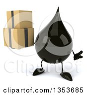 3d Oil Drop Character Holding Boxes And Shrugging On A White Background