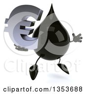 3d Oil Drop Character Holding A Euro Currency Symbol And Jumping On A White Background