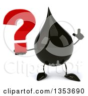 3d Oil Drop Character Holding Up A Finger And A Question Mark On A White Background
