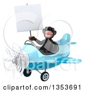 Clipart Of A 3d Chimpanzee Monkey Aviator Pilot Wearing Sunglasses Holding A Blank Sign And Flying A Blue Airplane On A White Background Royalty Free Vector Illustration
