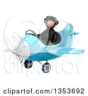 Clipart Of A 3d Chimpanzee Monkey Aviator Pilot Wearing Sunglasses And Flying A Blue Airplane On A White Background Royalty Free Vector Illustration